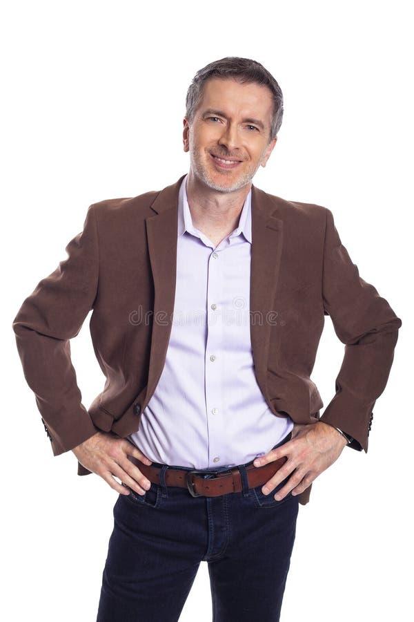 Uomo d'affari Medio Evo Looking Confident e felice fotografia stock libera da diritti