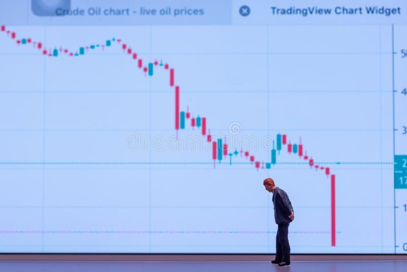 Uomo d'affari in miniatura a focus selettivo che guarda in basso - crollo del prezzo del petrolio greggio senza attenzione immagine stock