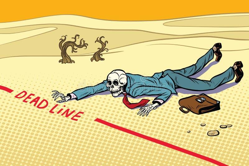 Uomo d'affari morto impegnato nel termine illustrazione vettoriale