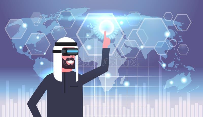 Uomo d'affari musulmano In Vr Goggles che usando l'interfaccia utente con tecnologia di vetro di realtà virtuale del fondo della  royalty illustrazione gratis