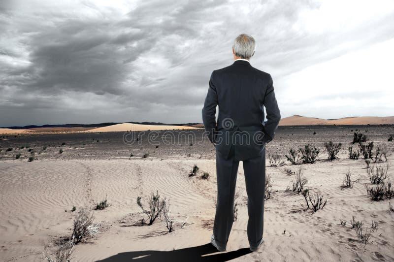 Uomo d'affari nel deserto fotografia stock libera da diritti