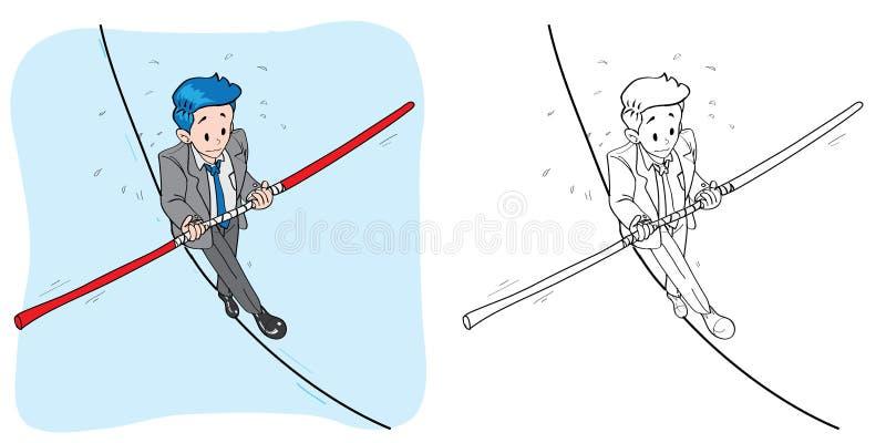 Uomo d'affari nel fumetto del circo della corda per funamboli fotografia stock libera da diritti
