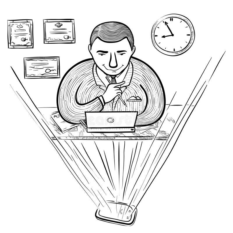 Uomo d'affari nel posto di lavoro illustrazione di stock