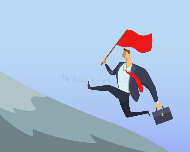 Uomo d'affari nel vestito dell'ufficio che corre velocemente fino alla cima con la bandiera rossa in sua mano Raggiungimento degl illustrazione di stock