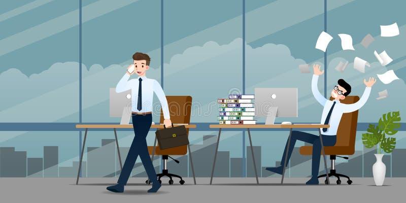 Uomo d'affari nell'emozione differente Due uomini d'affari hanno situazione di contrasto di lavoro uno possono finito e ritornand illustrazione vettoriale