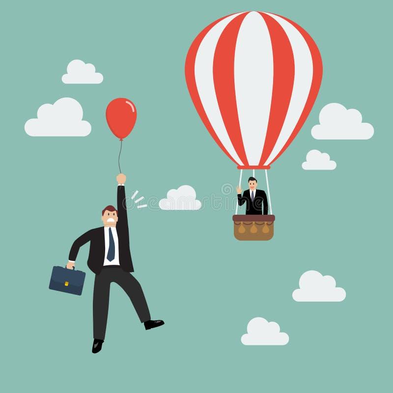 Uomo d'affari nell'uomo d'affari del passaggio della mosca della mongolfiera con bal rosso royalty illustrazione gratis
