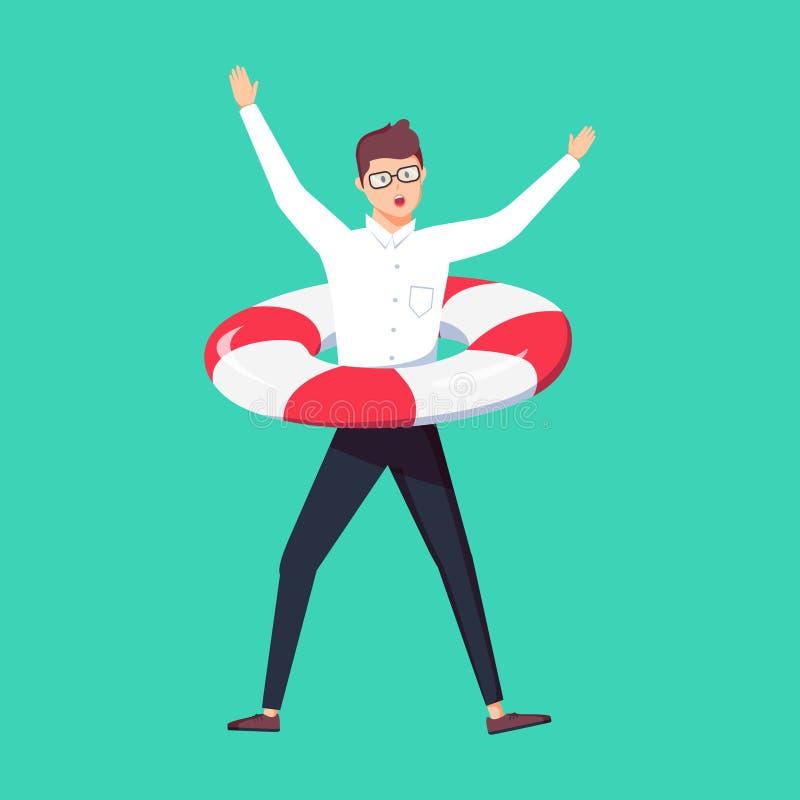 Uomo d'affari nella difficoltà con l'aiuto di bisogno di salvagente Molto lavoro, sovraccarico e sovraccarico o occupato e stanco royalty illustrazione gratis
