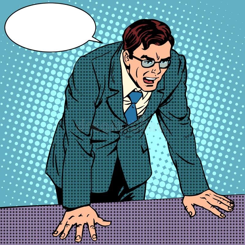 Uomo d'affari nella rabbia illustrazione di stock