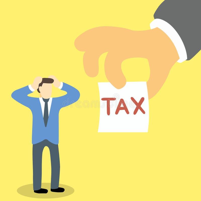 Uomo d'affari nello sforzo e nell'emicrania perché esattore delle tasse illustrazione vettoriale