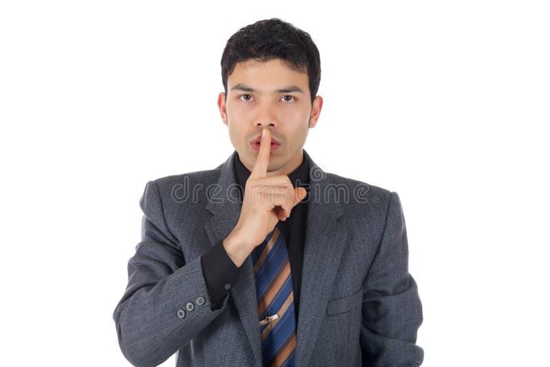 Uomo d'affari nepalese attraente, silenzio fotografia stock