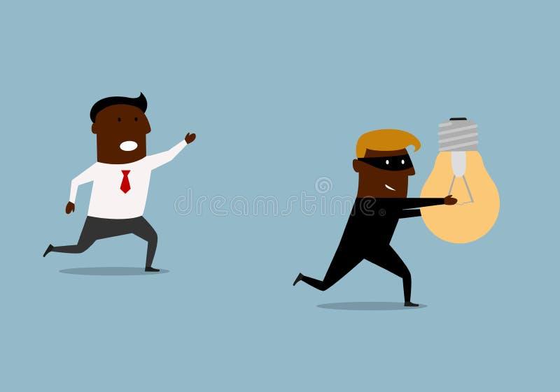 Uomo d'affari nero che insegue ladro con l'idea illustrazione vettoriale