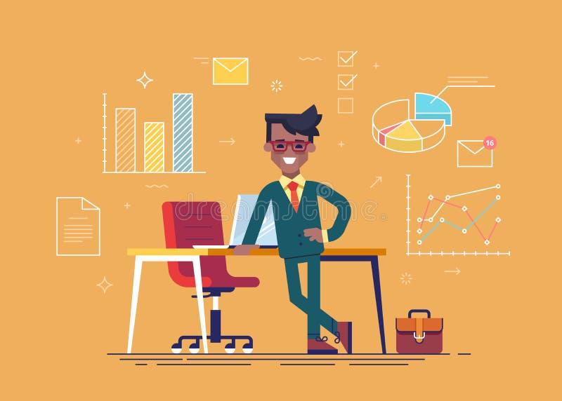 Uomo d'affari nero che sta a gambe accavallate appoggiantesi una tavola con le icone di processo aziendale sul fondo Vettore illustrazione di stock