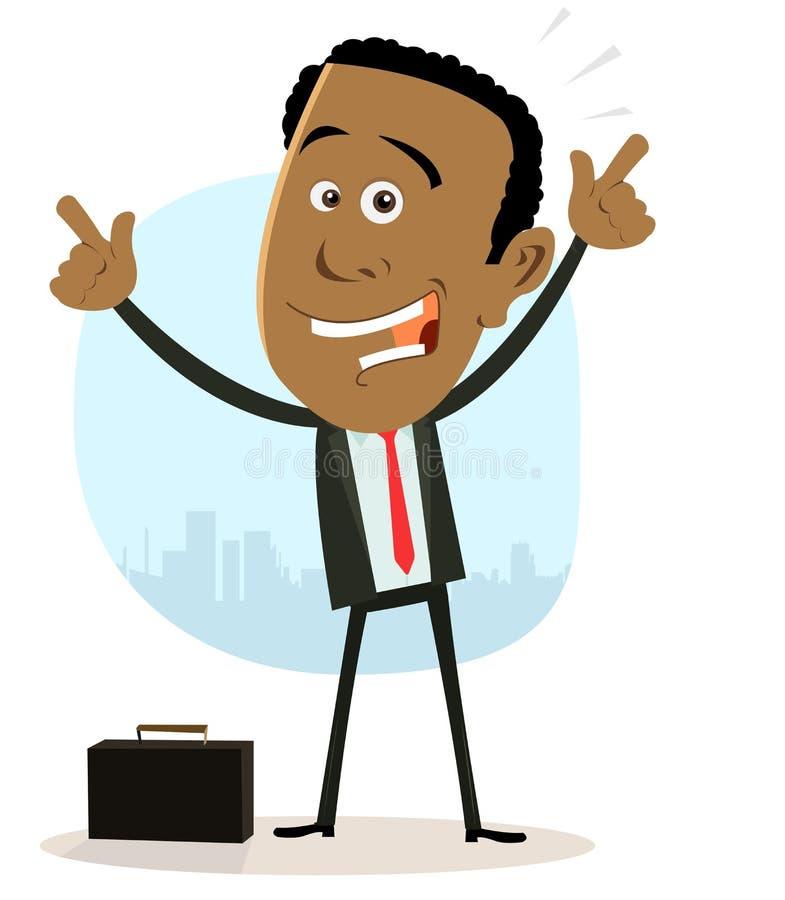 Uomo d'affari nero del fumetto illustrazione di stock