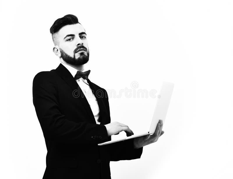 Uomo d'affari o agente di assicurazione con la barba ed i baffi fotografie stock