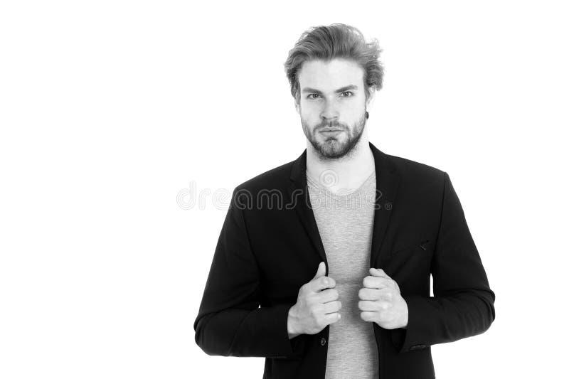 Uomo d'affari o giovane che porta camicia grigia e rivestimento nero fotografie stock libere da diritti