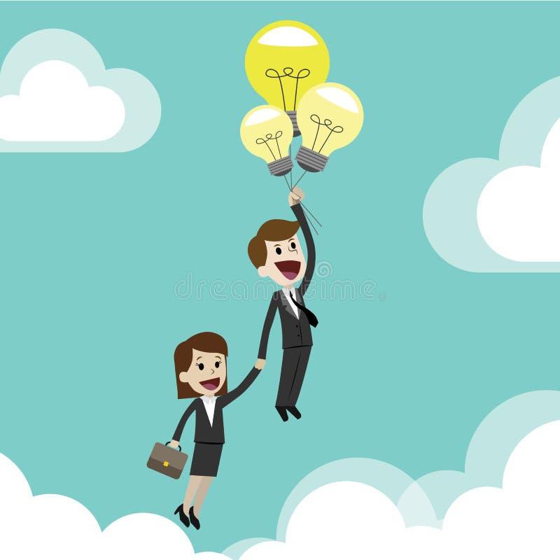 Uomo d'affari o responsabile che ottiene le nuove idee per l'affare partenza Volando con le lampade gradisce i palloni Team il la illustrazione vettoriale