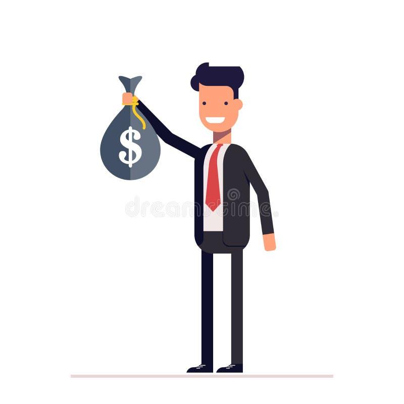 Uomo d'affari o responsabile che sta con una borsa di soldi in sua mano illustrazione vettoriale