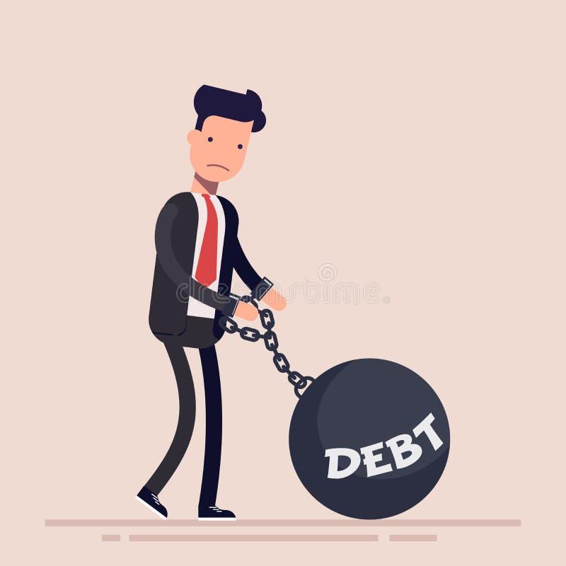 Uomo d'affari o responsabile incatenato ad un peso con un debito dell'iscrizione Concetto di fallimento Illustrazione di vettore  illustrazione di stock