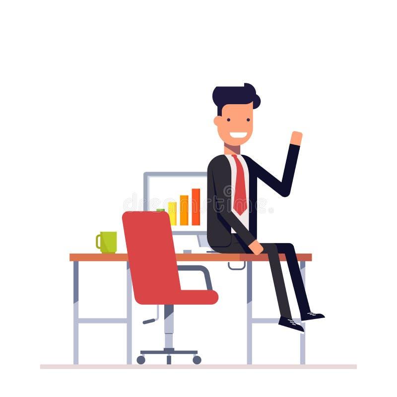 Uomo d'affari o responsabile pigro che si siede alla tavola Uomo in un vestito che sorride e che ondeggia Vettore, illustrazione  illustrazione vettoriale