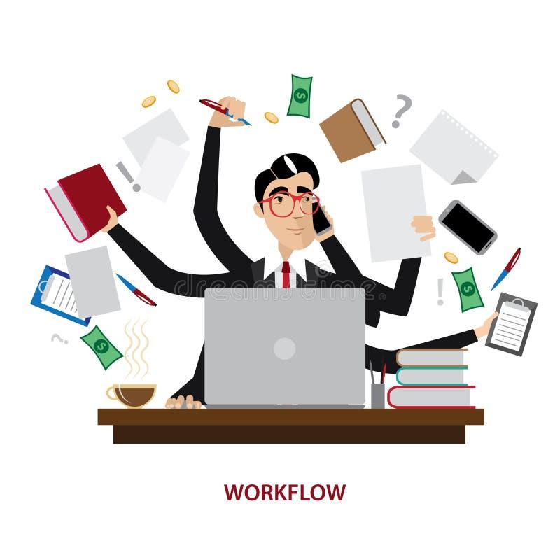 Uomo d'affari occupato nel luogo di lavoro illustrazione vettoriale