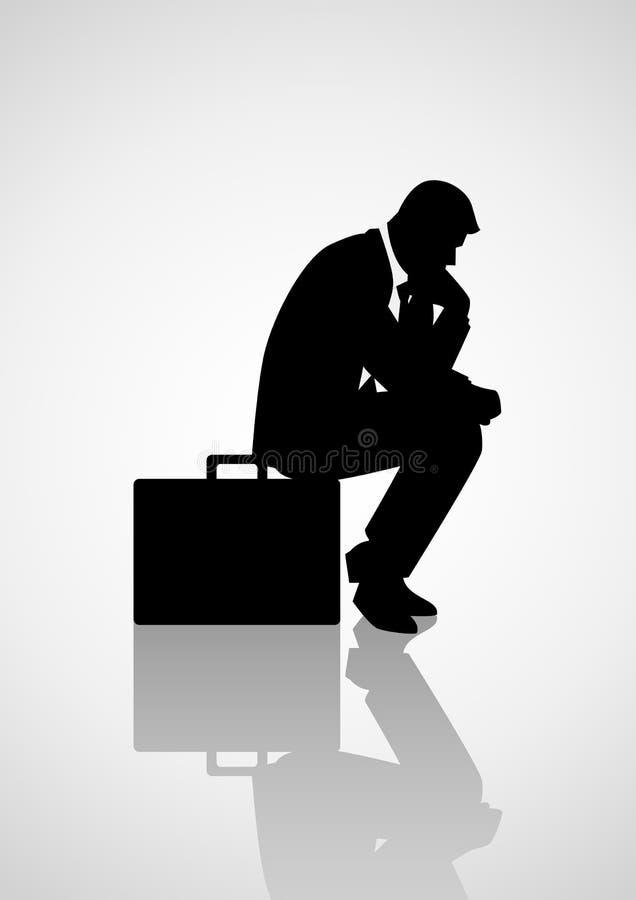 Uomo d'affari pensieroso che si siede sulla sua cartella illustrazione di stock