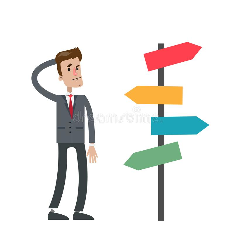 Uomo d'affari perso isolato illustrazione di stock