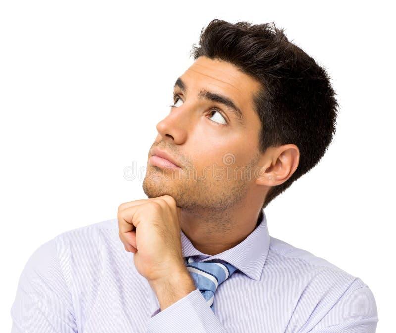 Uomo d'affari premuroso Looking Up fotografia stock libera da diritti