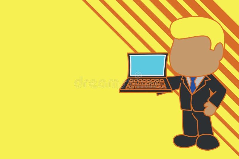 Uomo d'affari professionale stante che tiene la cravatta d'uso aperta del vestito del lato di mano destra del computer portatile  royalty illustrazione gratis