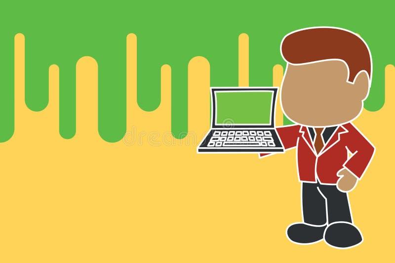 Uomo d'affari professionale stante che tiene la cravatta d'uso aperta del vestito del lato di mano destra del computer portatile  illustrazione vettoriale