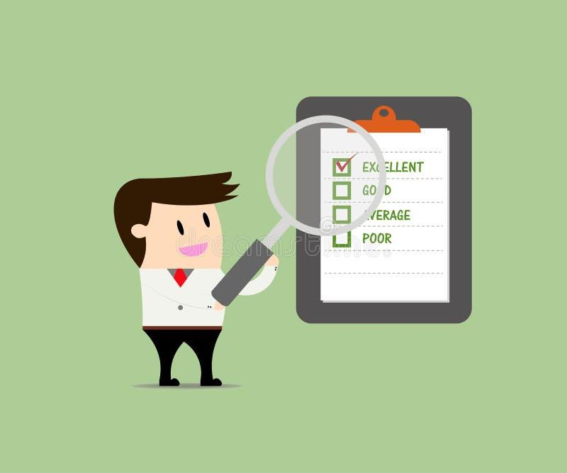 Uomo d'affari Quality Checklist illustrazione di stock
