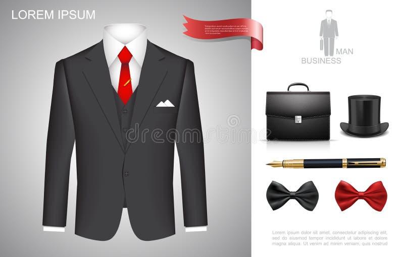 Uomo d'affari realistico Style Composition royalty illustrazione gratis