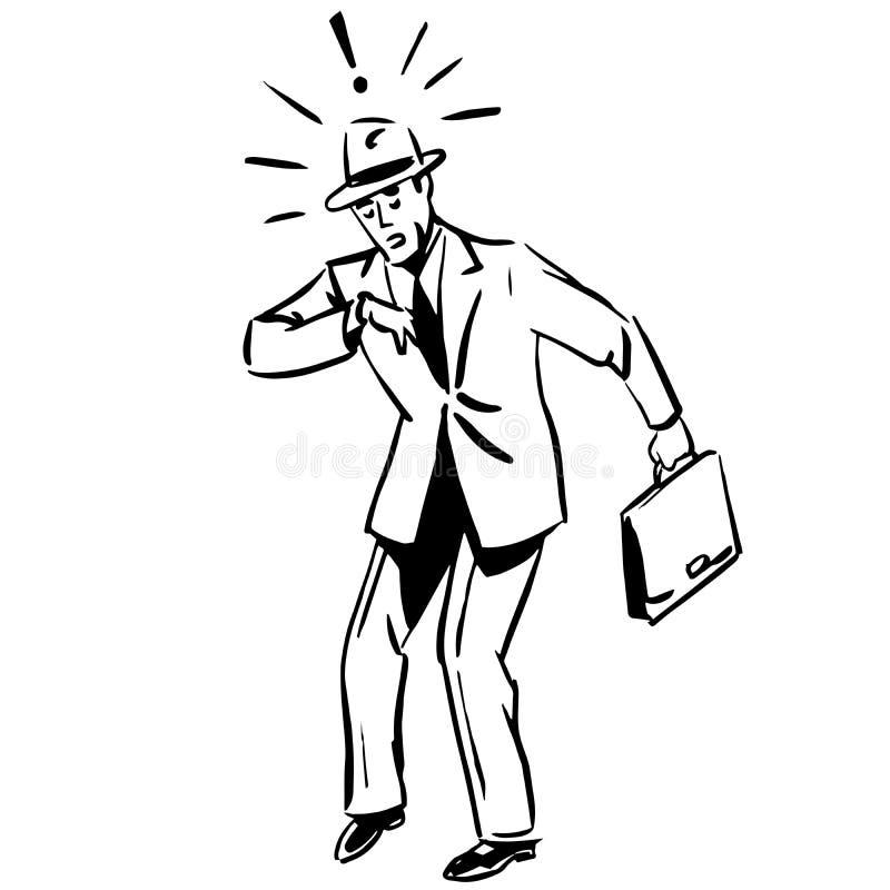 Uomo d'affari recente che guarda concetto di affari dell'orologio illustrazione vettoriale