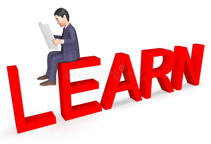 Uomo d'affari Represents Learned Learn del carattere e rappresentazione di sviluppo 3d illustrazione vettoriale
