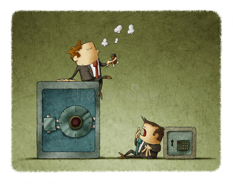 Uomo d'affari ricco ed uomo d'affari del povero illustrazione di stock