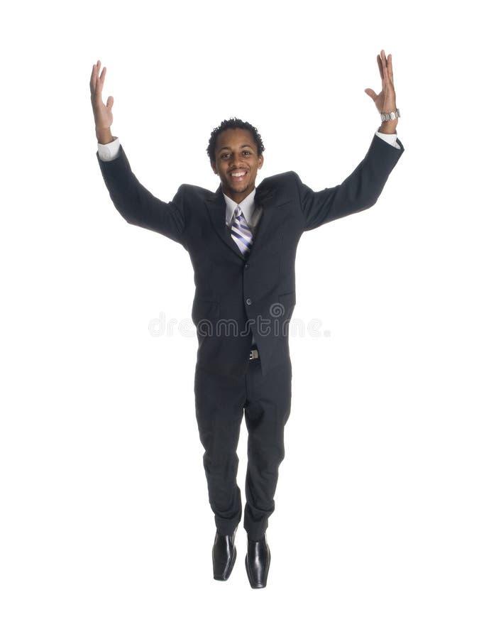 Uomo d'affari - salti per la gioia fotografie stock libere da diritti