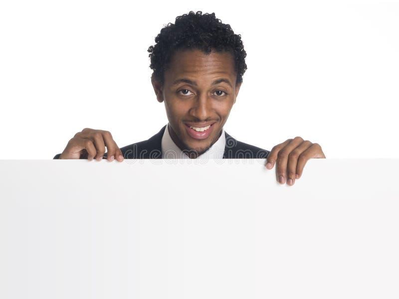 Uomo d'affari - segno in bianco fotografia stock libera da diritti