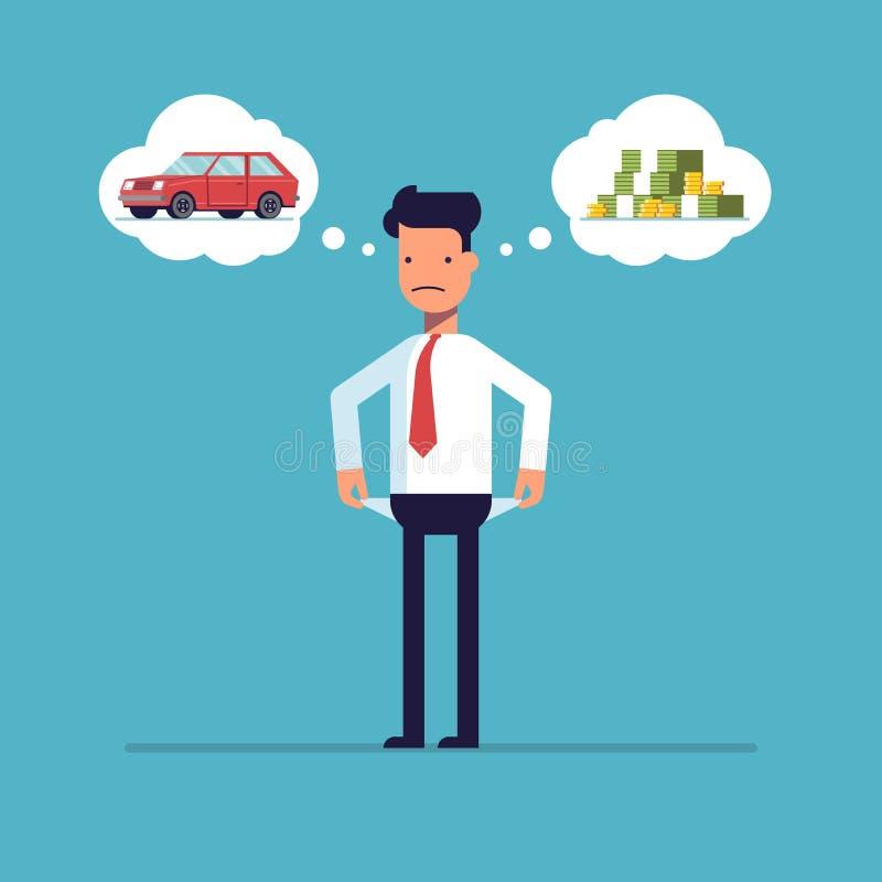 Uomo d'affari senza soldi, fallimento Sogni dell'uomo di un'automobile illustrazione vettoriale