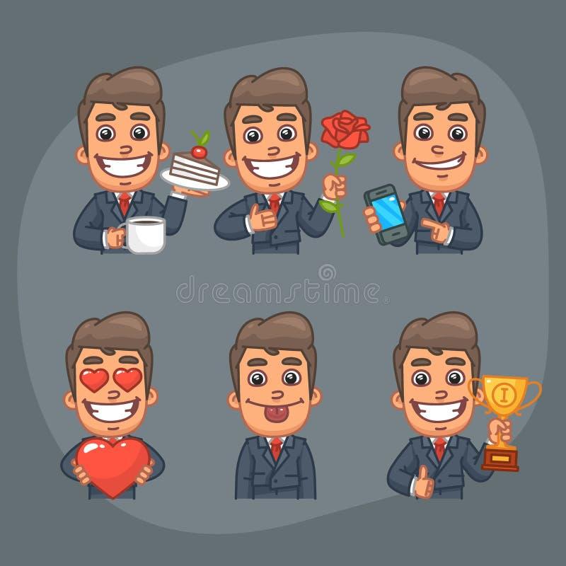 Uomo d'affari Set della parte 6 del pacchetto di 6 autoadesivi di pose royalty illustrazione gratis