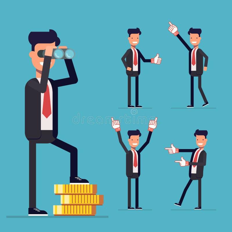 Uomo d'affari Set Un uomo sta su soldi e sullo sguardo tramite il binocolo illustrazione vettoriale