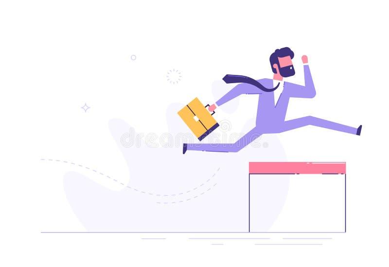 Uomo d'affari sicuro che salta sopra la transenna Vettore illustrazione vettoriale