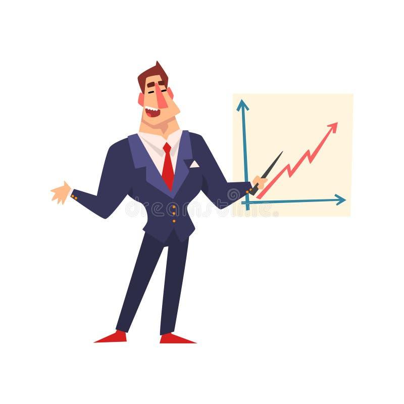 Uomo d'affari sicuro di sé che indica ad una lavagna con il grafico ad una presentazione, riuscito carattere di crescita di affar illustrazione vettoriale