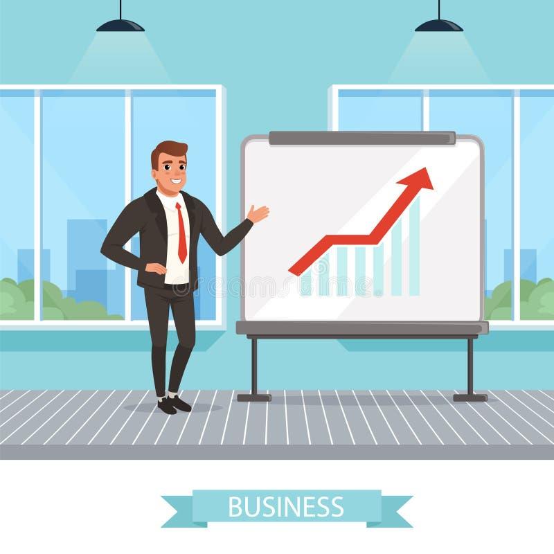 Uomo d'affari sicuro di sé che sta lavagna vicina e che mostra i grafici crescenti Riuscito lavoro Stanza dell'ufficio con grande royalty illustrazione gratis