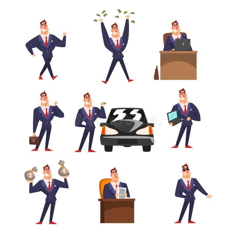 Uomo d'affari sicuro di sé sorridente in vario insieme di situazioni, riuscita illustrazione di vettore del fumetto del carattere royalty illustrazione gratis