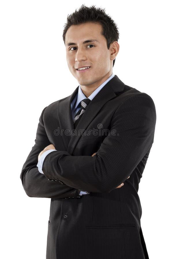 Uomo d'affari sicuro Over White Background fotografie stock libere da diritti