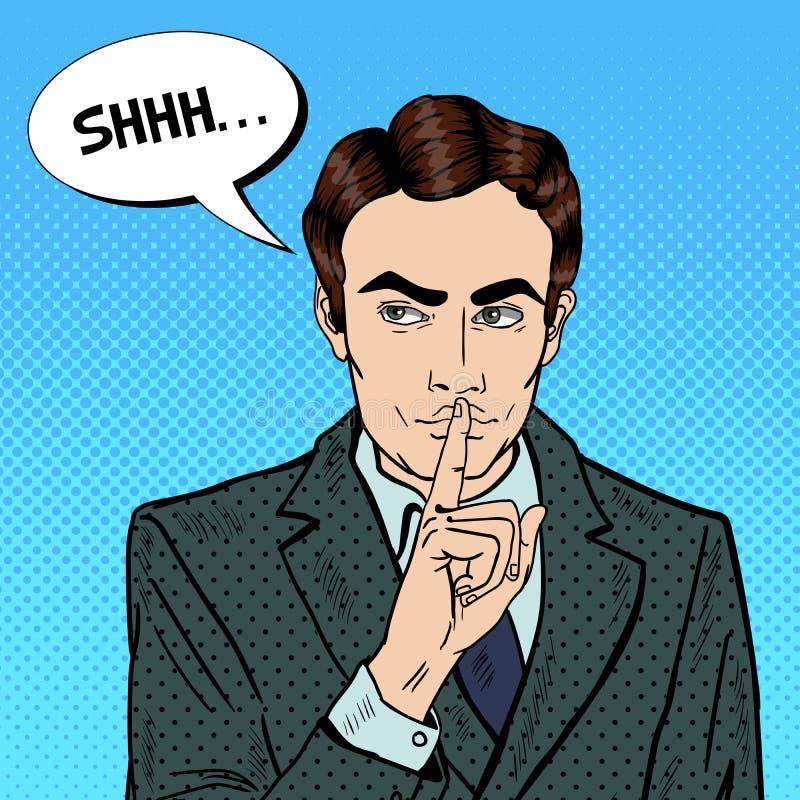 Uomo d'affari Silent Quite Gesture con il dito Segreto di mistero Pop art illustrazione di stock