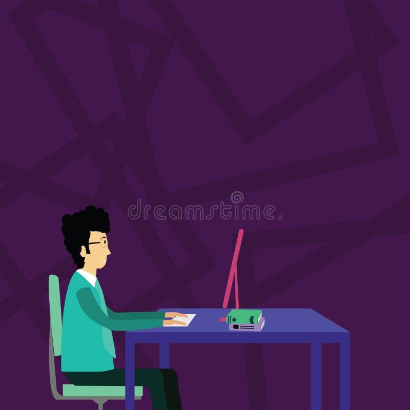 Uomo d'affari Sitting Straight su funzionamento della sedia sul computer con i libri sulla Tabella Idea creativa del fondo per me illustrazione vettoriale