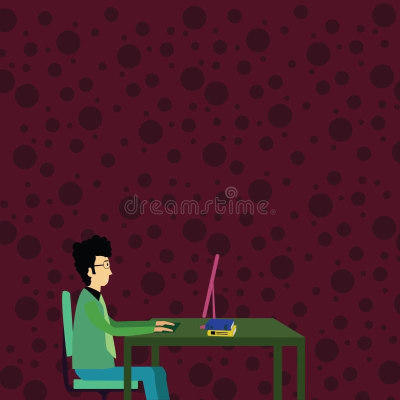 Uomo d'affari Sitting Straight su funzionamento della sedia sul computer con i libri sulla Tabella Idea creativa del fondo per me illustrazione di stock