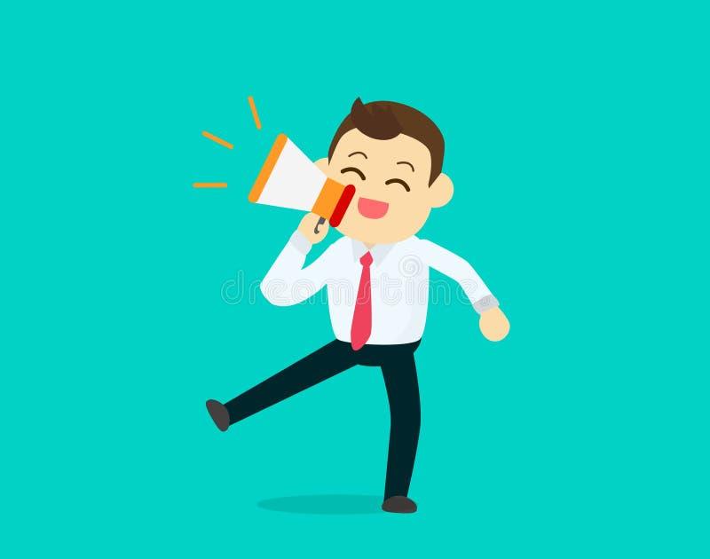 Uomo d'affari soddisfatto del megafono, concetto di vendita di promozione royalty illustrazione gratis
