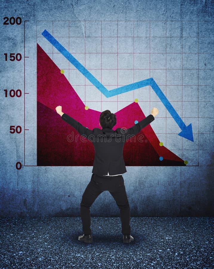 Uomo d'affari sollecitato con la caduta grafico di affari illustrazione di stock