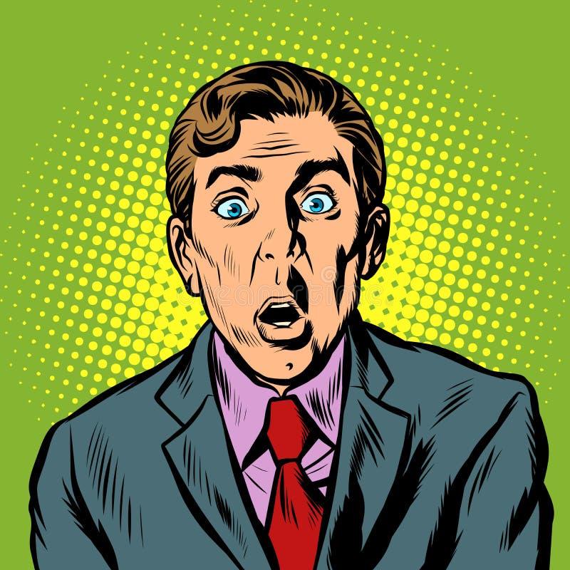 Uomo d'affari sorpreso dell'uomo illustrazione di stock